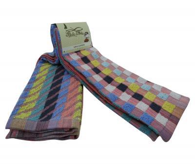 Комплект полотенец махровый 2 штуки Цветные шахматы