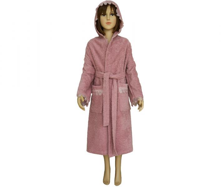 412 Халат махровый детский 9-12 лет Тёмно-розовый