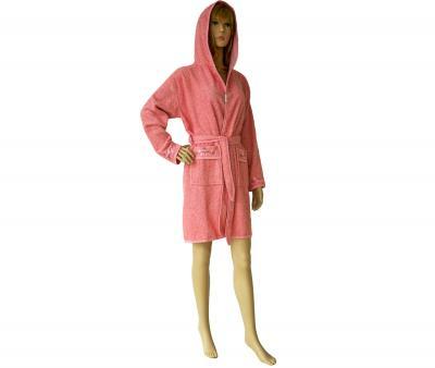 419 Женский мини-халат с капюшоном розовый