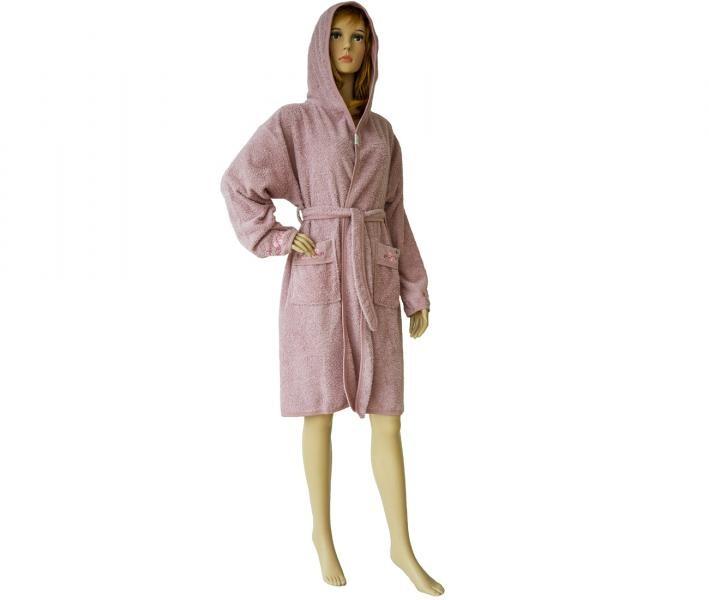 419 Женский мини-халат с капюшоном тёмно-розовый