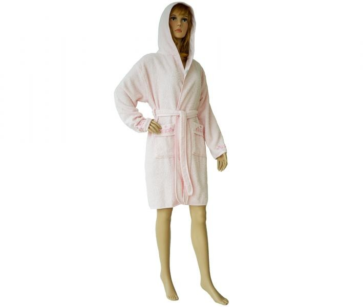 419 Женский мини-халат с капюшоном светло-розовый