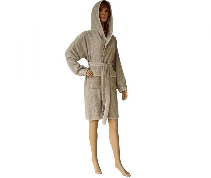 419 Женский мини-халат с капюшоном бежевый
