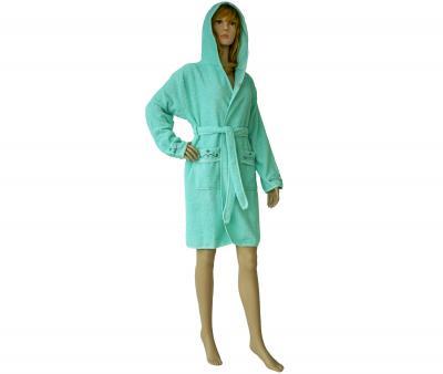 419 Женский мини-халат с капюшоном ментол