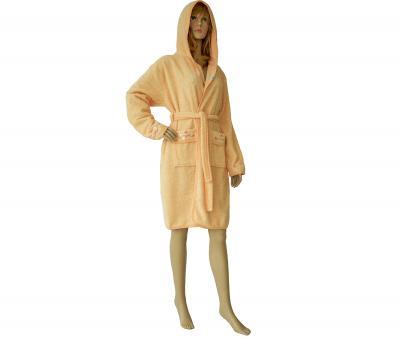 419 Женский мини-халат с капюшоном персиковый