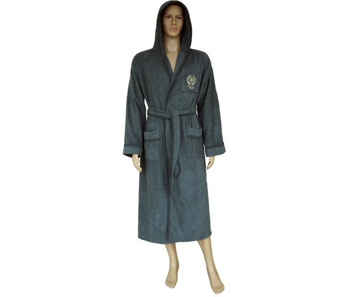 600 Мужской халат длинный с капюшоном графит