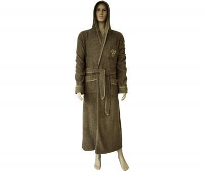 600 Мужской халат длинный с капюшоном коричневый