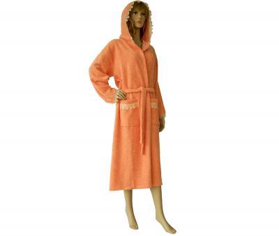 650 Женский халат длинный кружевной оранжевый