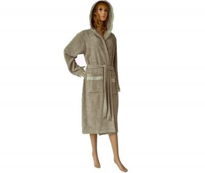 650 Женский халат длинный кружевной бежевый