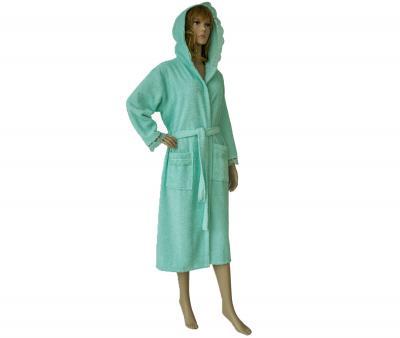 650 Женский халат длинный кружевной ментол