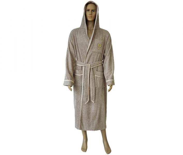 860 Мужской халат длинный с капюшоном бежевый