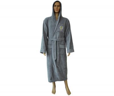 860 Мужской халат длинный с капюшоном серый