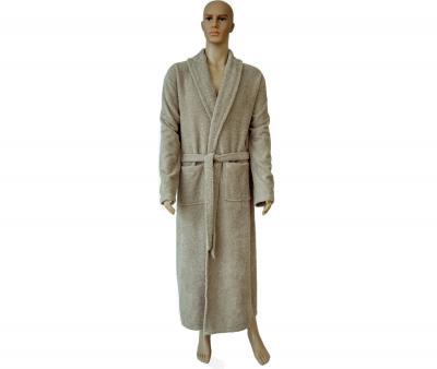862 Мужской классический длинный халат бежевый