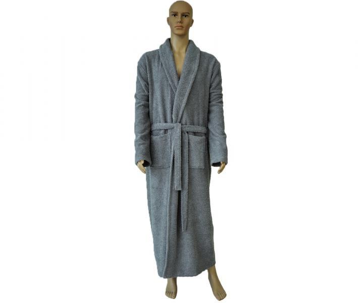 862 Мужской классический длинный халат серый