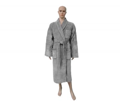 Халат мужской с вышивкой Светло-серый