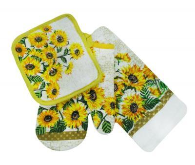 Набор кухонный (рукавица + прихватка+полотенце) Подсолнухи