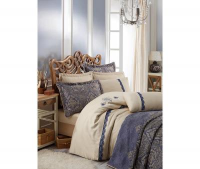 Комплект постельного белья Коттон Бокс сатин Платинум + покрывало Ornella Lacivert