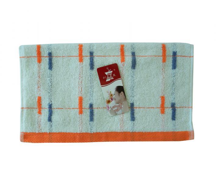 Полотенце кухонное махровое (33x74) Полоски син-оранж