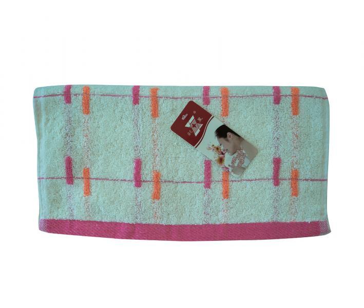 Полотенце кухонное махровое (33x74) Полоски роз-оранж