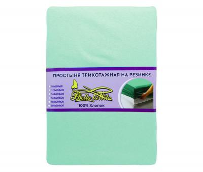 Простынь трикотажная на резинке книжка мятный