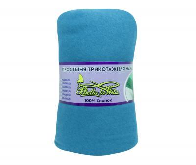 Простынь трикотажная на резинке  ролик серо-голубой