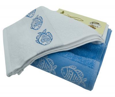 Комплект полотенец махровый 2 штуки Рыбки