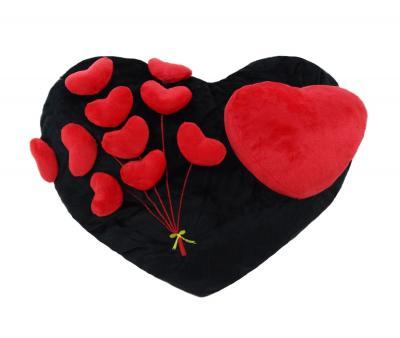 Подушка-игрушка Сердца на черном