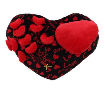 Подушка-игрушка Сердца на черном love