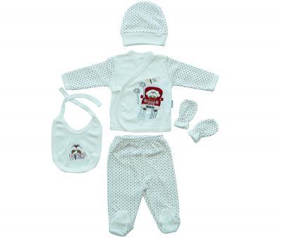 Комплект для новорождённых 5 предметов Ramel Горошек син-крас