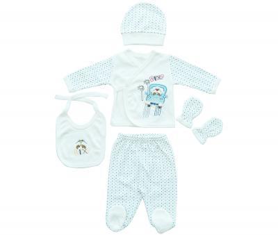 Комплект для новорождённых 5 предметов Ramel Горошек син-гол