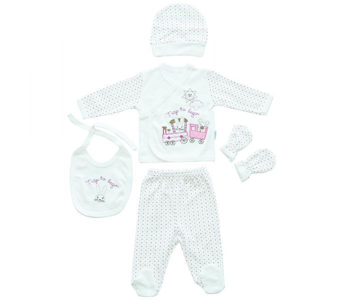 Комплект для новорождённых 5 предметов Ramel Горошек роз-крас