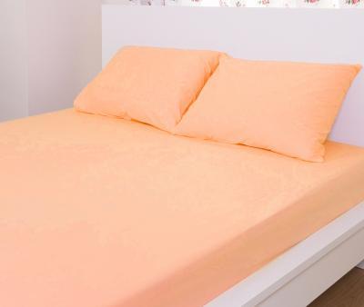 Простынь на резинке+ 2 нав. махровая Комфорт Оранжевый