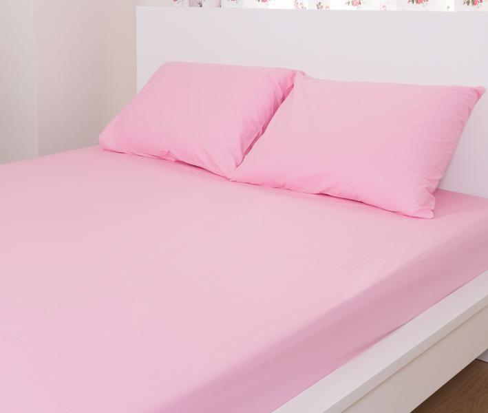 Простынь на резинке+ 2 нав. махровая Комфорт Розовый