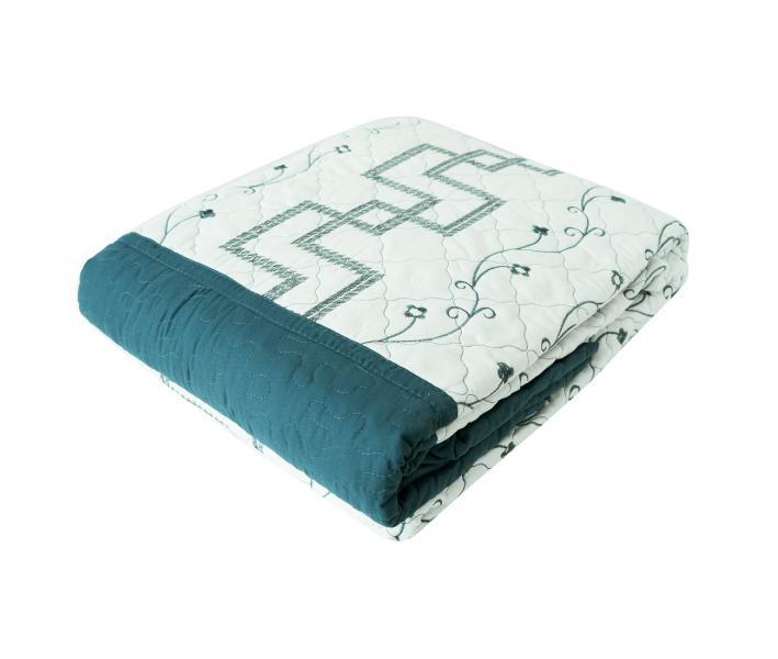Покрывало вышивка с декоративной наволочкой SH005 Капри синий