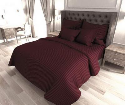 Комплект постельного белья Lotus Home сатин страйп Темно-бордовый