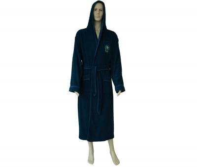 600 Мужской халат длинный с капюшоном тёмно-синий
