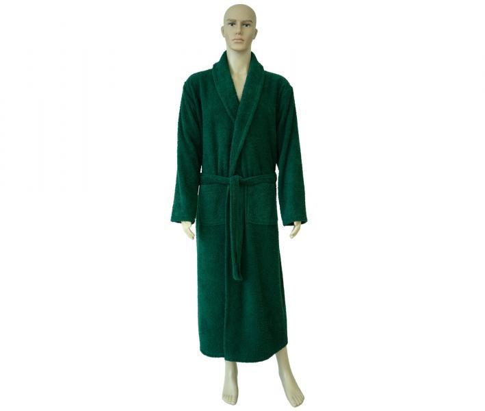 862 Мужской классический длинный халат тёмно-зелёный