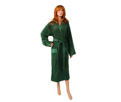Халат женский жаккард с воротником темно-зеленый