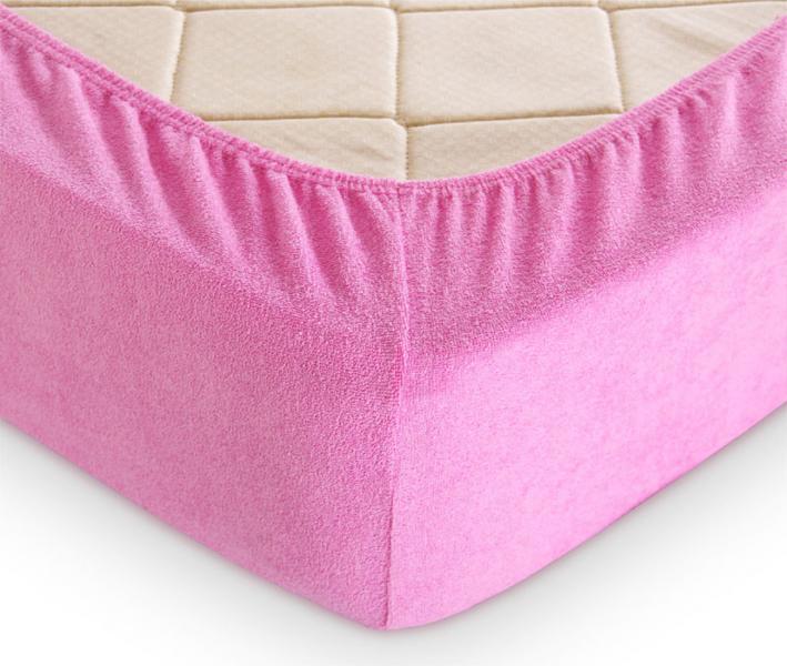 Простынь на резинке Махровая Розовый