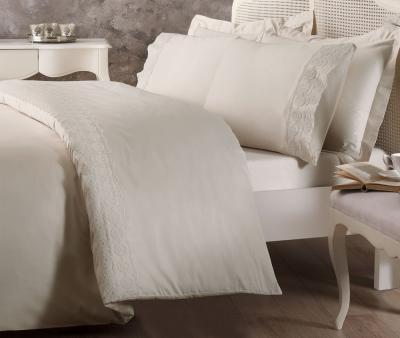 Комплект постельного белья Tivolyo Home Евро Сатин гладкий с вышивкой Arian Bej