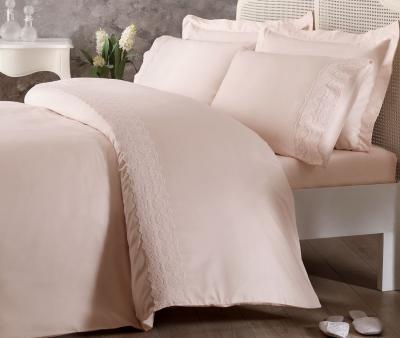 Комплект постельного белья Tivolyo Home Евро Сатин гладкий с вышивкой Arian Pembe