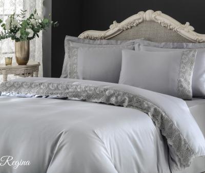 Комплект постельного белья Tivolyo Home Евро Сатин гладкий с вышивкой Regina Gri