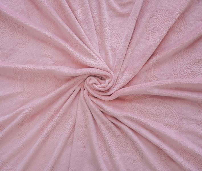 Плед Велсофт жаккард Перламутрово-розовый