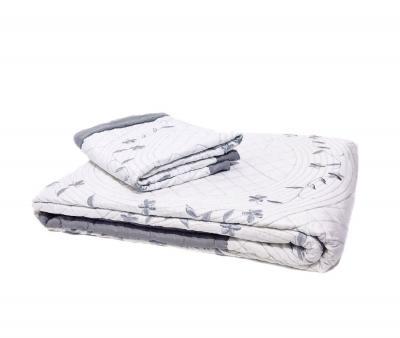 Покрывало вышивка с декоративной наволочкой SH010 Серый