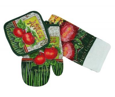 Набор кухонный (рукавица + прихватка+полотенце) Яблочки