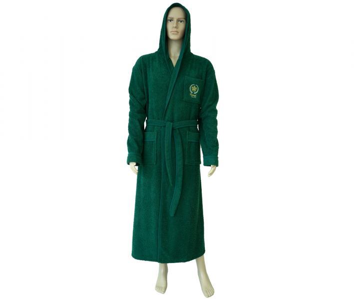 860 Мужской халат длинный с капюшоном зелёный