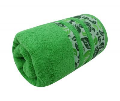 Полотенце махровое Турция 480 гр Дорук Листья Темно Зеленый